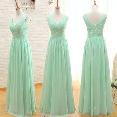 A Line Simple Elegant Cheap Long Mint Green Bridesmaid Dresses 2015,Party Dresses for Wedding,Chiffon Prom Dresses