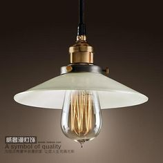 White Glass Copper Pendant Light Art Deco Rustic Hanging Lamp Shade Vintage Retro Modern Kitchen Housewear Edison&Led Bulbs