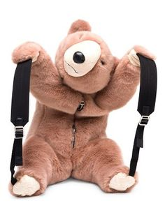 We've Got Your Back(pack)! Forget heavy shoulder bags and go for a backpack. Animal Backpacks, Teddy Bear Toys, Cute Stuffed Animals, Long Sleeve Tee Shirts, Backpack Purse, Plush Animals, Faux Fur, Kawaii Bags, Kawaii Things