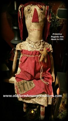 Primitive Sitting Raggedy Annie Doll (Made In USA)