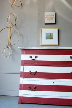 Red and white striped dresser.  Get this look with Chalk Paint® decorative paint by Annie Sloan in Emperors Silk and Old White or Pure!