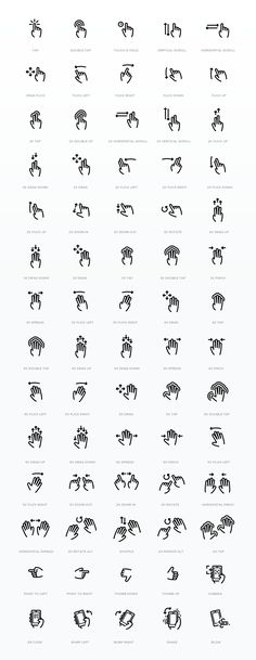 Outline Hand Finger Gesture Vector Icon Set