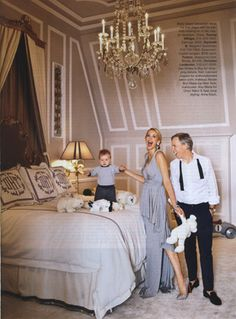 The Hilfigers' apartment in NYC with custom monogramed bedding from New Orleans' own #LeontineLinens