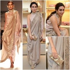 Yay or Nay : Karisma Kapoor in Kiran Uttam Ghosh Heavy Dresses, Trendy Dresses, Casual Dresses, Fashion Dresses, Desi Wedding Dresses, Indian Wedding Outfits, Indian Outfits, Party Wear Lehenga, Party Wear Dresses