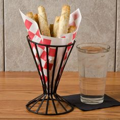 """Choice 7"""" x 6 1/2"""" Red Check Wire Cone Basket Liner / Deli Wrap / Double Open Bag - 2000/Case Basket Liners, Roasted Peanuts, Wood Fired Pizza, Deli, Bakery, Oven, Wire, Bag, Check"""