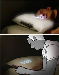 This pillow is designed to gently wake you by exposing your eyes to a glowing cloud of illumination, gradually increasing in brightness over a 40 minute period. You can see time on the pillow's surface too.
