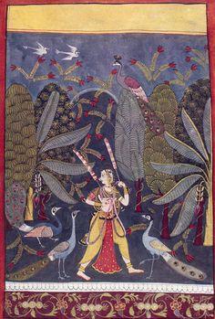 GIRL PACING IN A GROVE. Illustration to the Indian musical mode, Gauri Ragini Malwa, Central India, c. 1650. Gopi Krishna Kanoria Collection, Calcutta
