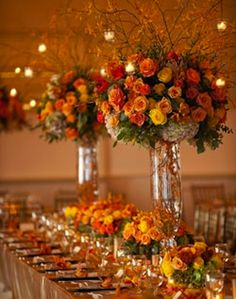 See more ideas about orange wedding centerpieces, fall wedding flower inspi Orange Wedding Centerpieces, Floral Centerpieces, Table Centerpieces, Floral Arrangements, Centerpiece Ideas, Fall Wedding Centerpieces, Fall Wedding Flowers, Wedding Colors, Wedding Bouquets