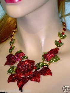 Large Red Rose Rhinestone Necklace