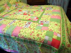 Vintage Cottage Pink, Yellow & Green Floral King Size Quilt and Pillow Sham