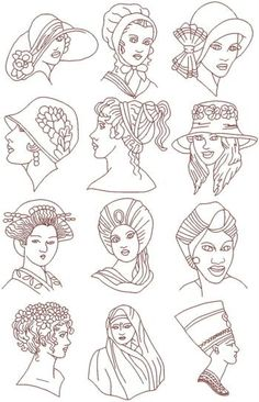 Advanced Embroidery Designs - Headdresses of the World Redwork Set