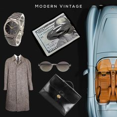Modern Vintage #edc Clockwise: 'Ingenieur SL' analog watch by IWC, Makt money clip by @svorndesign, Bullet speedster by Bristol, 'Sac à Dépèches' briefcase by HERMÈS VINTAGE, 'Erin' sunglasses by MYKITA, Vintage 'Monsieur' Tweed Coat by Givenchy #mensstyle #moneyclip #car #convertible #hermes #givenchy #style #vintage #modern #mensfashion #fashion #luxuryfashion #money #car #leather #style #dapper