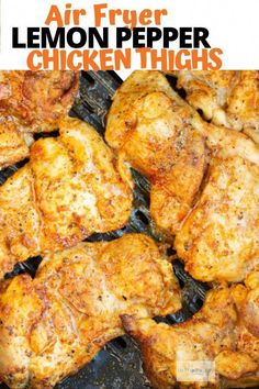 This easy and delicious Air Fryer Chicken Thighs. They are juicy and delicious and full of lemon pepper flavor. Easy and delicious Lemon Pepper Chicken Thighs that are made in your Air Fryer. Air Fryer Recipes Breakfast, Air Fryer Oven Recipes, Air Frier Recipes, Air Fryer Dinner Recipes, Lemon Recipes Dinner, Air Fryer Recipes Chicken Thighs, Air Fryer Chicken Wings, Chicken Thigh Recipes, Chicken Breast Strips Recipes