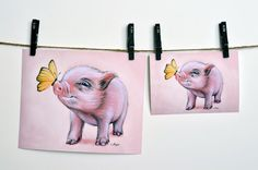 Mini Pig archival print. Micro pig giclée print. by MimoCadeaux, $33.00