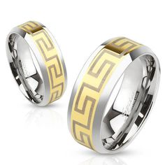 Stainless Steel Gold Greek Key Wedding Band Ring Size 5-13 #Band