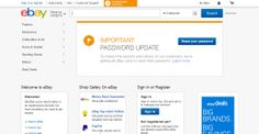 Ebay.com front page 3 days after a major hack compromised user information, including passwords on May 21 2014.