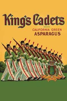 *Original* KING/'S CADETS Army Soldiers Clarksburg Ca Asparagus Label NOT A COPY!