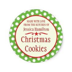 Green polka dots cookie swap baking gift stickers. Designed by…