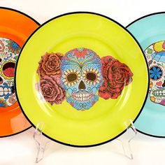 Make food-safe sugar skull plates and add some color to your table!