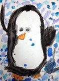 "Artsonia Art Exhibit :: Kindergarten Penguins""After reading a book about Penguins in a zoo who find a camera and take pictures of themselves, (Penguins by Liz Pichon), students drew their own penguins posing for the camera. Students drew their penquins with black crayon, and added white oil pastel snowflakes to create a resist for their background. The background was painted with watercolor paint focusing on the cool colors."""