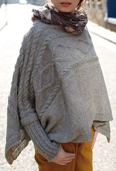 Free Knitting Pattern for Madison Poncho - This cuffed poncho design by Martin Storey is knit sideways and features elegant cable patterns