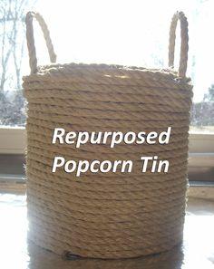 Homemade In The Heartland: DIY: Repurposed Popcorn Tins