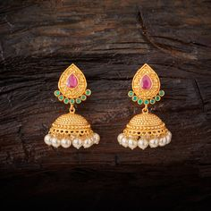 Traditional Designed Antique Jhumka earrings studded with Ruby Green synthetic stones & Beads, with gold Polish. Gold Jhumka Earrings, Gold Bridal Earrings, Gold Earrings Designs, Gold Jewellery Design, Women's Earrings, Gold Jewelry, Fashion Earrings, Fashion Jewelry, Morganite Jewelry