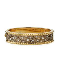 David Webb Motif 18k Gold Diamond Skip Zigzag Bracelet with Black Enamel & Platinum WCgXt