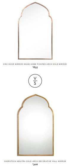 @zincdoor Mirror Image Home Pointed Arch Gold Mirror $835 Vs @overstock Kenitra Gold Arch Decorative Wall Mirror $306
