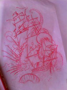 kraken tattoo sketch