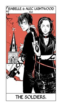 Cassandra Jean's Lightwood siblings Tarot card. Alec and Isabelle take the place of the Tower Card, only with the Institute as the Tower in the background.