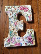 "VTG Chic China Mosaic Pink Rose Wall French Shabby Mary P Mosaics Letter ""E"""
