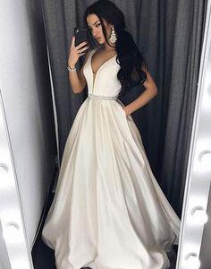 charming white satin v-neck A-line long prom dress, PD4711