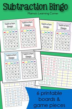 Subtraction Bingo - includes 6 game boards and playing pieces