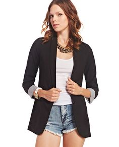 "<p>Classic, cute, and easy to pair with anything, this boyfriend blazer is a definite closet staple! It features a woven body with a slight stretch, faux front pockets, a single button closure, and roll cuff 3/4-length sleeves with a pencil striped print underneath. Pair it with a basic tee and destroyed skinny jeans for an effortlessly trendy look!</p>  <p>Model is 5'9"" and wears a size small.</p>  <ul> 	<li>86% Polyester / 10% Rayon / 4% Spandex</li> 	<li>Hand ..."