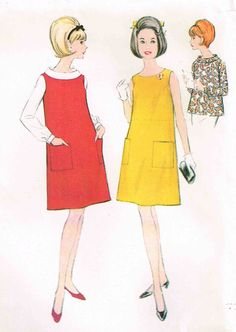 Vintage 1960s Maternity Dress Jumper Rolled Collar Blouse McCalls 8889 Sewing Pattern by PeoplePackages