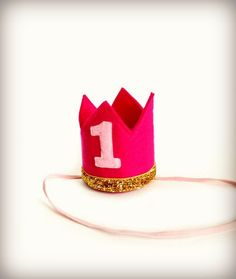 Birthday Crown Pink Felt Crown Headband MINI Gold Glitter - Any Age Number