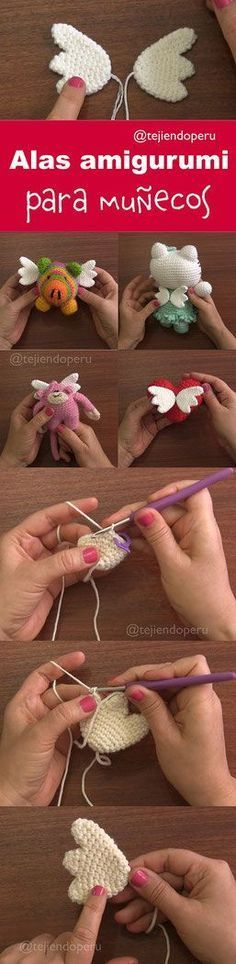 Baby Knitting Patterns Toys Crochet wings tutorial with pattern Kawaii Crochet, Crochet Gratis, Crochet Amigurumi, Love Crochet, Amigurumi Patterns, Diy Crochet, Crochet Dolls, Crochet Flowers, Knitting Patterns