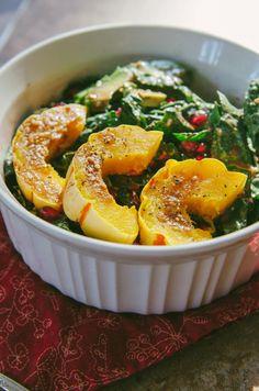 Delicata, Pomegranate & Avocado Kale Salad  {Gluten-Free, Paleo & Vegan}