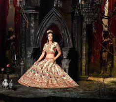 Expensive silk Indian dulhan lenghas buy online UK, Cream heavy Indian wedding lengha