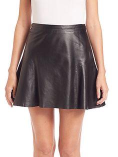 MICHAEL MICHAEL KORS Leather Flared Skirt. #michaelmichaelkors #cloth #skirt