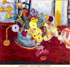 Pierre Bonnard. Flowers on a Red Carpet. 1928. Oil on canvas. 57 x 61 cm. Private collection.