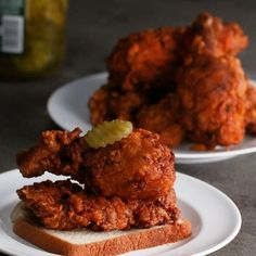 Food Photography Restaurant Vs Homemade Nashville-Style Hot Chicken Recipe by Tasty Nashville Style Hot Chicken Recipe, Nashville Chicken, Spicy Chicken Recipes, Spicy Fried Chicken, Chipotle Chicken, Roasted Chicken, Buzzfeed Tasty, Fries In The Oven, Cooking Recipes