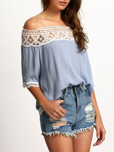 Shop Blue Boat Neck Lace Crop Blouse online. SheIn offers Blue Boat Neck Lace Crop Blouse & more to fit your fashionable needs.