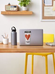 """""""Love Coffee With A Passion -White Travel Mug Coffee Design"""" Sticker by Pultzar 