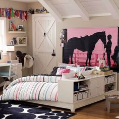 ▷ ideas on how to set up a teen room- ▷ 1001 + Ideen, wie Sie ein Teenager Zimmer einrichten youth room girl modern, pink wallpaper with horse and woman, bed with shelves - Girls Bedroom, Teenage Girl Bedroom Designs, Room Decor For Teen Girls, Teenage Girl Bedrooms, Childrens Room Decor, Girl Rooms, Master Bedroom, Boy Bedrooms, Bed Rooms