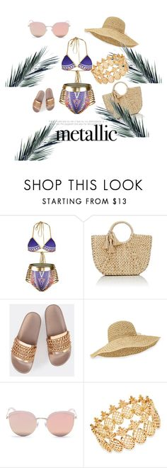 """""""Metalchic"""" by bysa on Polyvore featuring Buji Baja, Helen Kaminski, Stephane + Christian, INC International Concepts, outfit, summerstyle, polyvoreeditorial and metallicswimwear"""