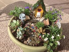 Fairy garden - made with a little birdhouse and arbor constructed from floral wire and beads. Ordered the bird bath and lamp from myfairygardens.com and found the bench and wheelbarrow at Hobby Lobby. Birdhouse and moss were from Joann's