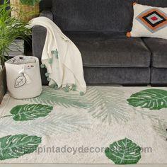 Alfombra lavable en lavadora Plants verde