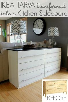ikea tarva dresser transformed into a kitchen sideboard, kitchen design, painted furniture, repurposing upcycling, An IKEA Tarva 6 drawer chest turned kitchen sideboard a perfect fit up against the back of our couch
